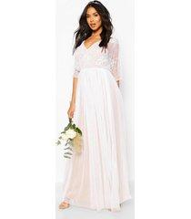bridesmaid hand embellished kimono mesh maxi, white