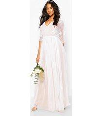 handversierde bruidsmeisjeskimono maxi-jurk met gaasstof, wit