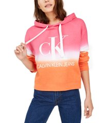 calvin klein jeans cropped tie-dye graphic hoodie