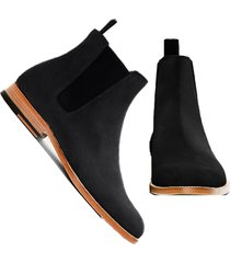 handmade chelsea men's black chelsea suede boots leather sole dress formal