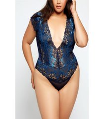 icollection plus size natalia lace and mesh teddy bodysuit, online only