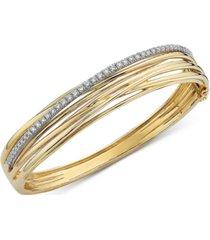effy diamond multi-row bangle bracelet (7/8 ct. t.w.) in 14k gold