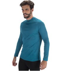 camisa térmica segunda pele manga longa nord outdoor under confort - masculina - azul