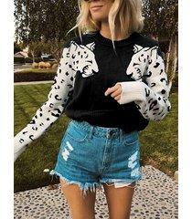 suéter de manga larga redondo negro animal cuello
