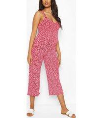 zwangerschap bloemenprint culotte jumpsuit, rood