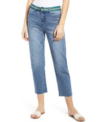 women's prosperity denim belted crop straight leg jeans