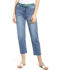 women's prosperity denim belted crop straight leg jeans, size 33 - blue