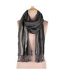 wool shawl, 'chic stripes' (india)
