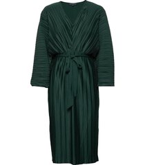 regi pleated sleeved dress jurk knielengte groen french connection