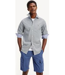 camisa de cuadros en algodón azul tommy hilfiger