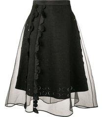 paskal sheer panelled flared skirt - black