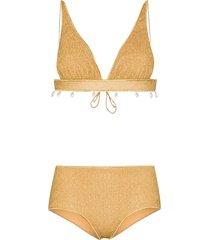 oséree lumière triangle lurex bikini - gold