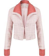 casaco kika simonsen tweed rosa
