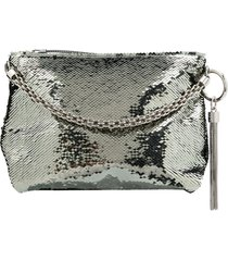 jimmy choo callie sequin-embellished clutch bag - green