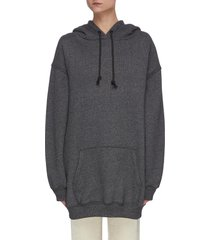 oversized label patch cotton hoodie