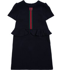 gucci blue cotton dress with web detail and ruffles