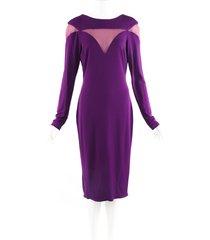 elie saab purple mesh long sleeve midi dress purple sz: m