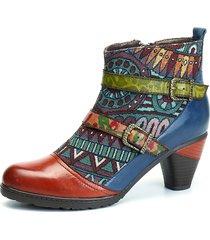 socofy bohemien stivaletti alla caviglia in pelle con splicing a tacchi squadrati