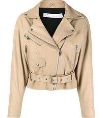 iro zip detail belted biker jacket - neutrals