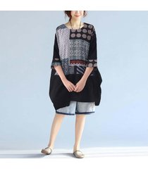 zanzea algodón de lino de las mujeres de cuello redondo manga 3/4 bolsillos floral casual mini vestido negro -negro