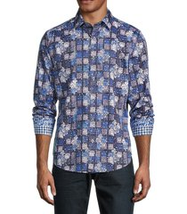 robert graham men's key west printed shirt - blue - size s