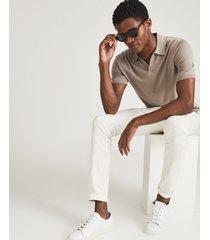 reiss duchie - merino wool open collar polo shirt in fawn, mens, size xxl