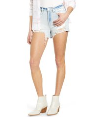 women's blanknyc the barrow high waist denim shorts, size 28 - blue