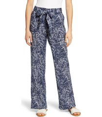 women's caslon new belted linen pants, size small - blue