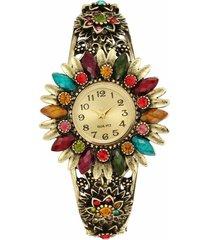 orologio in cloisonné con fiore di strass turchese