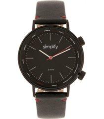simplify quartz the 3300 black dial, genuine black leather watch 43mm