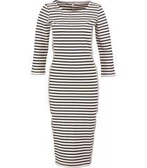 garcia lange stevige tricot stretch trui jurk 3/4 mouw off white dark blue valt kleiner