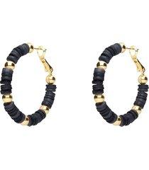 orecchini a cerchio in ottone dorato con elementi in conchiglia neri e strass chiusura in argento per donna