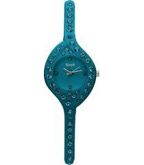 orologio cinturino policarbonato petrolio con cristalli per donna