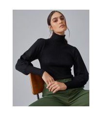 amaro feminino sueter de tricot gola alta com manga tipo bishop, preto