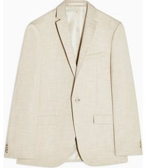 mens stone slim fit single breasted suit blazer with notch lapels