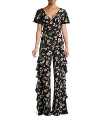 michael kors collection women's ruffle-trim floral-print silk jumpsuit - black ivory - size 2