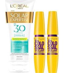 kit 2 máscaras de cílios the colossal lavável + protetor solar l'oréal paris fps30 200ml