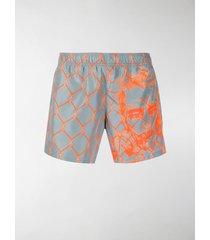 off-white broken fence swim shorts