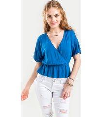 women's rosaline tie back peplum blouse in blue by francesca's - size: 3x