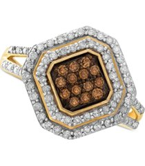 wrapped in love white and brown diamond ring in 14k gold (1/2 ct. t.w.), created for macy's