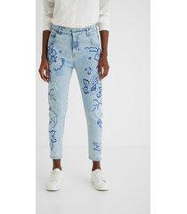 embroidered boyfriend jeans - blue - 32