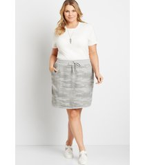 maurices plus size womens camo french terry skirt green
