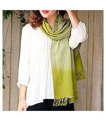 cashmere scarf, 'lush forest' (india)