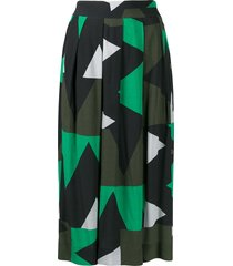 closed all-over print skirt - black