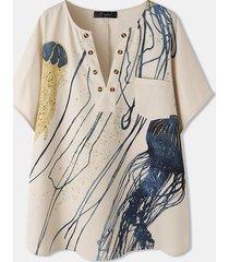 breve bottone stampato meduse plus camicetta tascabile da donna