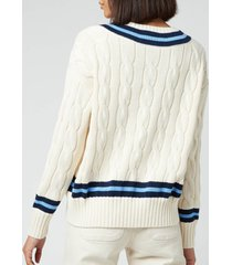 polo ralph lauren women's crewneck classic sweatshirt - cream/navy stripes - m