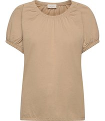betina-o-ss-solid t-shirts & tops short-sleeved beige free/quent