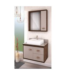 gabinete banheiro 65cm 1 porta 2 gavetas lilies móveis