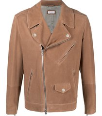brunello cucinelli multi-pocket biker jacket - brown