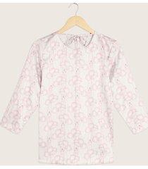 blusa manga 3/4 cuello redondo con detalle de anudado en espalda-l